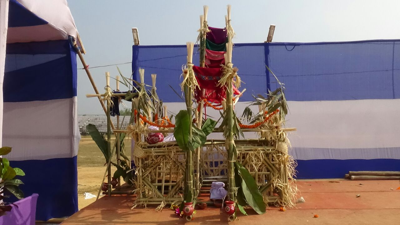 Exhibits of traditional tribal marriage bedi of Tripura