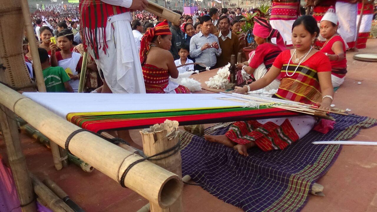 Live demonstration weaving of loinloom, during Tripura t6ribal Festival, 2016