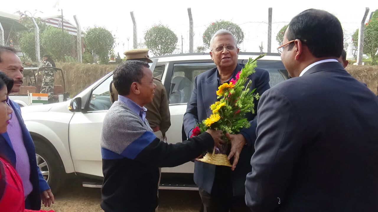 Hon'ble CEM,TTAADC Sri Radhacharan Debbarma welcoming the arrival of H.E. Governor of Tripura