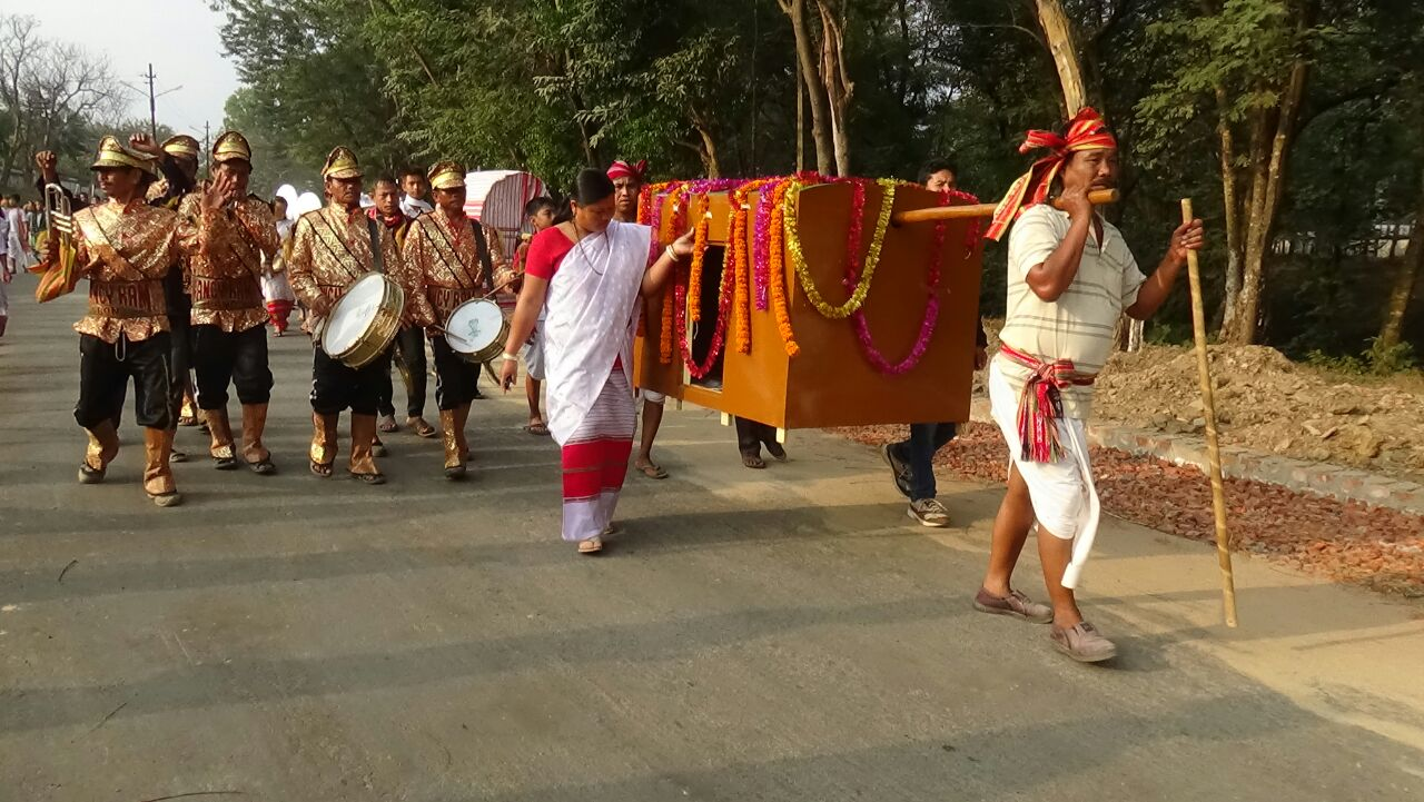 Rally on carrying of bride in Palki along with band party during Tripura Tribal Festival, 2016